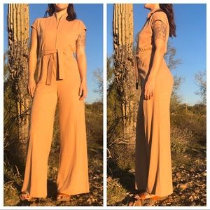 VTG 1970s Small Wide Leg Knit Jumpsuit Solid Tan